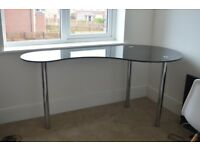 Black and chrome curved desk