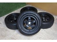 "15"" Alloy wheels 4x100 fits Mazda MX5 Clio Corsa Civic Polo Golf Yaris Black Alloys"