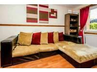 Real Italian Leather/Fabric Corner Sofa *BARGAIN*