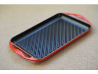 Le Creuset Cast Iron Rectangular Grill - Cerise Red (used once?)!