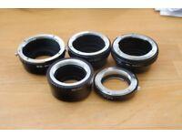 Full adapter set for lenses to M4/3 system. Nikon G Leica Voigtlander Jupiter Canon Eos
