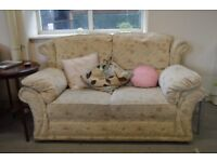 Cream Flower Pattern 2 Seat Sofa - GT 066