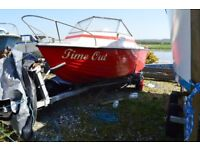 Cabin cruiser. 16 foot. Fibreglass. With trailer. Suitable for canal, river, lake use