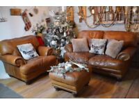 Chesterfield Vintage Leather 2 Seater Sofa & Armchair + Footstool Tan Brown