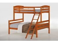 Double Wooden Bunk Bed on Clearance with Double and Single Mattress
