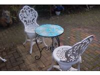 SMALL BLUE GLASS TABLE/2 CHAIRS