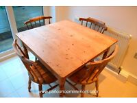 ANTIQUE VICTORIAN PINE KITCHEN DINING TABLE C.1880