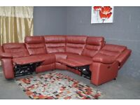 EX DISPLAY SCS MARS 5 PARTS ELECTRIC RECLINER RED CORNER SOFA