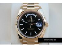 Rolex Day Date Presidential Gold Carbon Black Dial