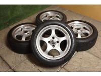 "Genuine Borbet T 15"" Alloy wheels & Tyres 4x100 Clio Corsa Civic Eunos Mx5 Yaris Polo Gold Alloys"