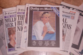 Princess Diana newspapers and book from 1997