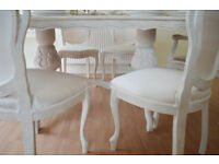*** !!! GREAT DEAL !!! *** BEAUTIFUL *** French Antique Shabby Chic Dining Table with Six Chairs !!