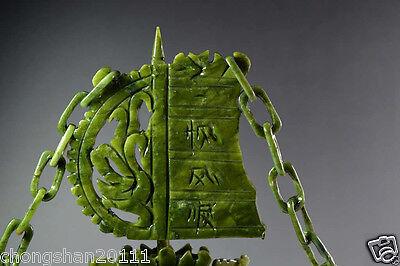 Chinese 100% Natural Jade Hand Carved Dragon Incense statue Dragon Ship