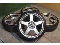 "Genuine WEDS Asa 18"" Alloy wheels & Tyres 4x100 & 4x108 Jdm Civic Ep2 Mini Corsa Clio Focus Fiesta"