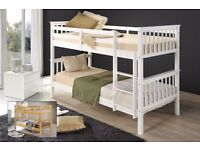 SINGLE DOUBLE DECKER WHITE WOODEN BUNK BED FRAME WITH MATTRESS OF CHOICE