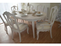 *** WOW *** UNIQUE & BEAUTIFUL *** French Antique Shabby Chic Dining Table and Six Chairs !!!