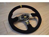 Universal 350mm Flat OMP Sport Racing Drift Steering Wheel EVO SUBARU HONDA CIVIC TYPE R EP3 EJ9