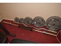 Iron Weight plates+ curl bar+straight bar