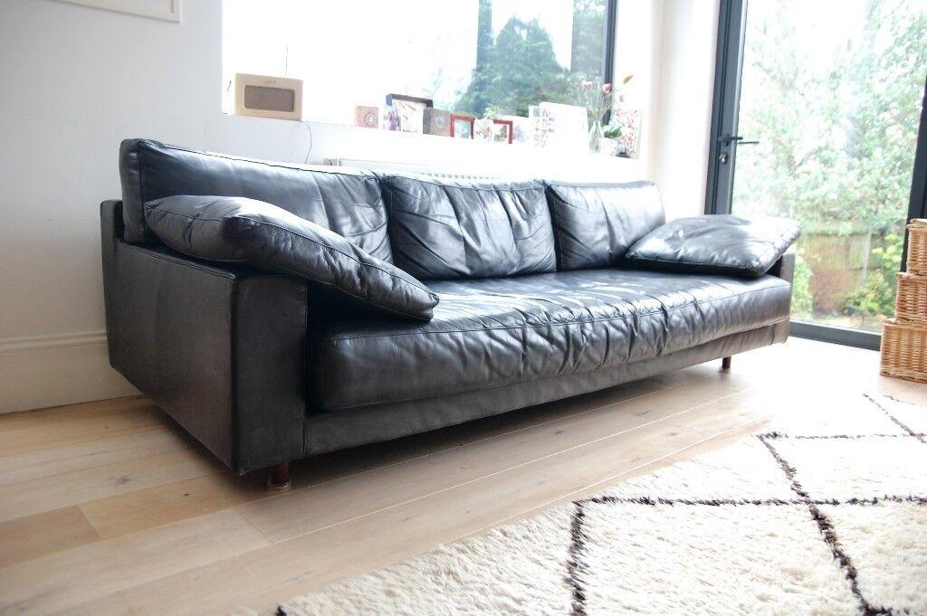 Charmant Vintage Black Leather Sofa U2013 Mid Century (1960s) U2013 Modern Style, Retro (
