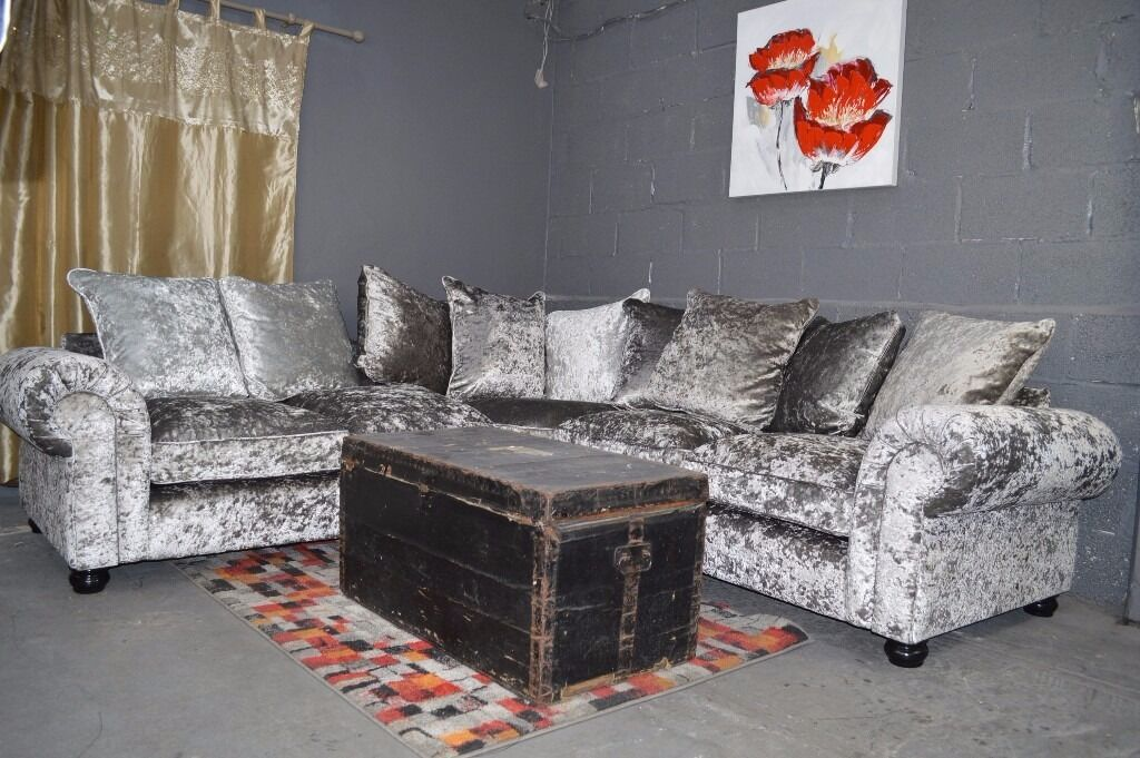 ex display littlewoods laurence crushed velvet corner sofa in silverprp
