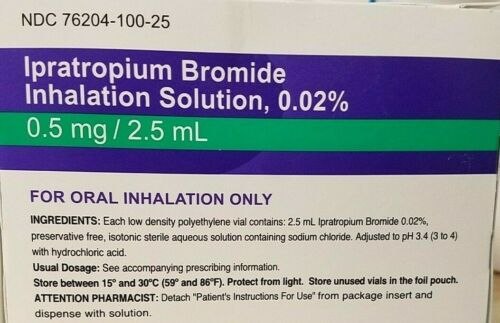 Inhalation Solution, 0,02% 0.5 mg/2.5 ml for oral inhalation only