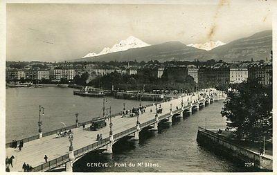 AK/Vintage postcard: GENÈVE - Pont du Mt. Blanc (1909)