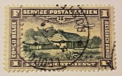 1 Fr Franc Frank poste aérienne CONGO BELGE / Postluchtdienst  Belgisch PA2