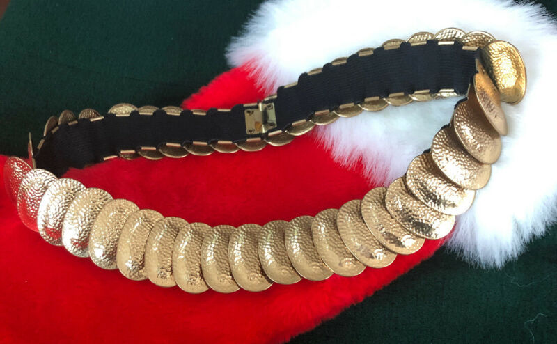 Vtg Elastic Stretch Gold Tone Chain Hammered Medallion Waist Belt S M L XL XXL