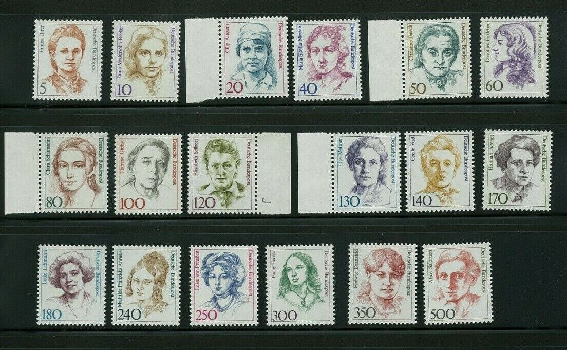 West Germany 1986 Famous Women, Scott 1475/1494A, 18 Mint Never Hinged Stamps - $9.99