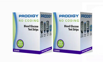 Prodigy Diabetic Test Strips 100 Ct in 2 Boxes Exp 2019+ Freaky Fast Shipping