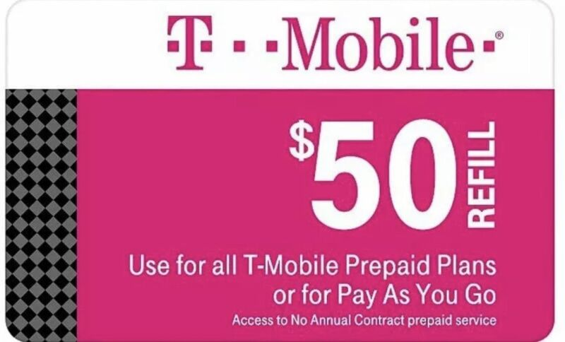 T-Mobile $50 Prepaid Refill Card, Air Time Top-Up/Pin RECHARGE (DIRECT REFILL )