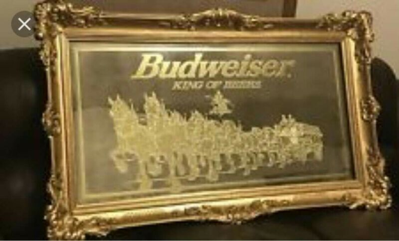 Vintage budweiser collectibles large bar mirror with Clydesdale horses