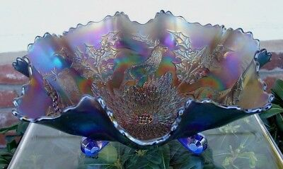"""FENTON""""CARNIVAL GLASS""""MINT+PERF~ANTIQUE~c1911""""ELEC""""BLUE""""STAG&HOLLY""""HUGE~11""""BOWL"""""""