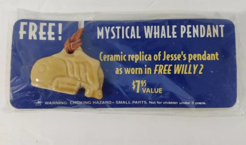 Free Willy 2 Mystical Whale Pendant Necklace Movie Promo Ceramic New in Package