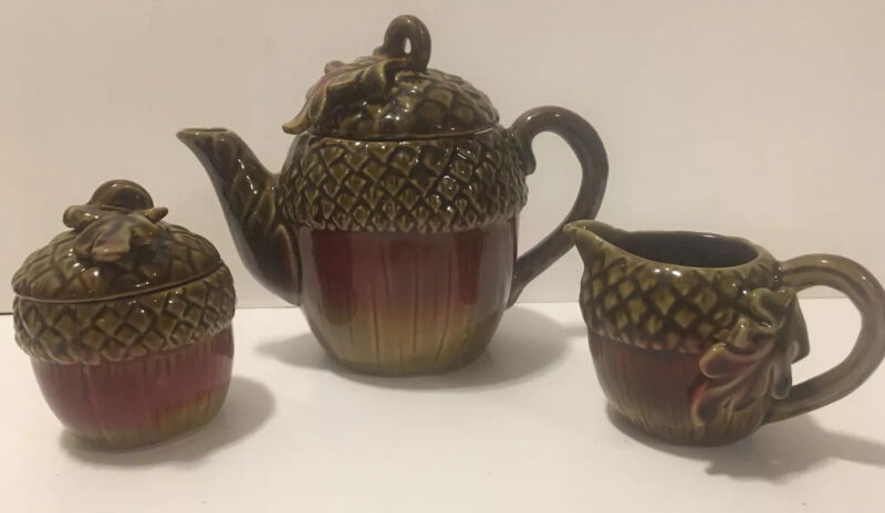 acorn oak leaf autumn fall Decor teapot pitcher sugar bowl Brown Red