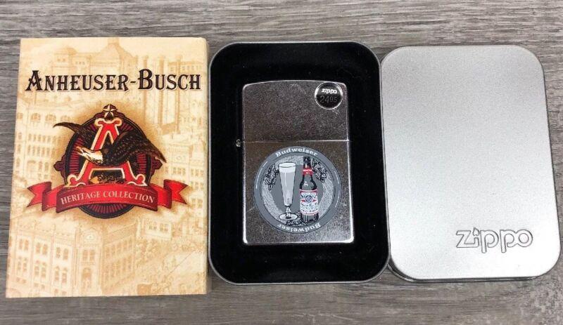 "Zippo Lighter Budweiser ""Bud Bottle And Glass"" 2003 Silver Plate Design"