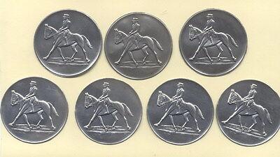 "7 Stück Zinn - Embleme "" Pferde - Sport DRESSUR "" für Pokale / Medaillen 5cm"