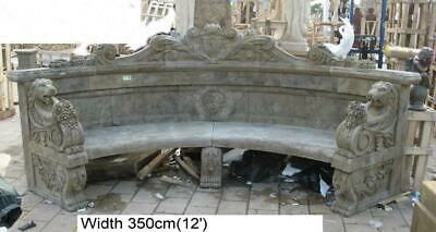 Hand Carved Solid Stone Curved Bench - Garden - 350cm Long - Architectural