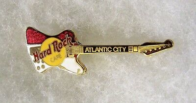 HARD ROCK CAFE ATLANTIC CITY RED & WHITE REVERSE FIRE BIRD GUITAR PIN # 491