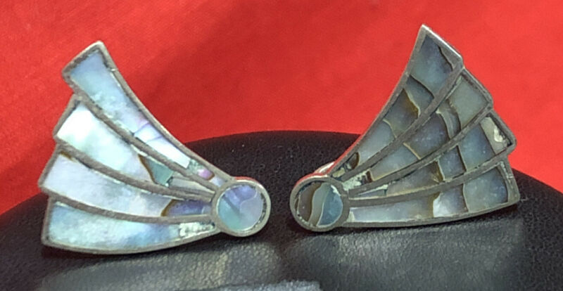 Vintage Sterling Silver Abalone Shell Screw Back Earrings