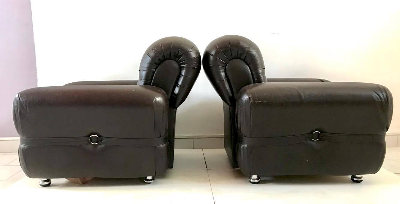 Poltrona poltrone armchair sedie pelle design anni 39 70 for Poltrona vintage pelle