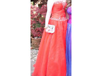 Prom Dress-stunning red tulle, floor length prom dress,sweetheart neckline & lace-up beaded bodice
