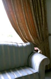 Curtains, pelmet, tiebacks, gold, heavy, lined
