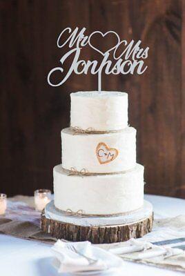 Holz Tortenstecker Hochzeit personalisiert Cake Topper Figur name Blumen mr mrs