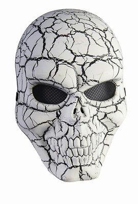 White and Black Cracked Skull Adult Face - Cracked Skull
