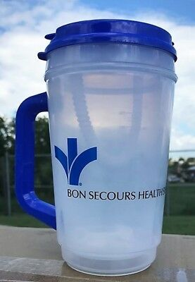 Plastic Insulated Clear Thermo 32oz Mug Bendable Straw & Blue Lid - Bon Secours