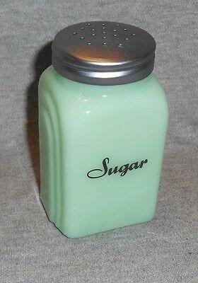 JADEITE GREEN GLASS SUGAR SHAKER ARCHED SIDES BLACK SCRIPT LETTERING RANGE (Green Sugar Shaker)