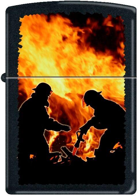 Zippo Firemen Silhouettes Fire FD Black Matte Windproof Lighter NEW RARE