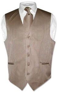 Mens-Dress-Vest-NeckTie-Mocha-Light-Brown-Vertical-Stripes-Design-Set