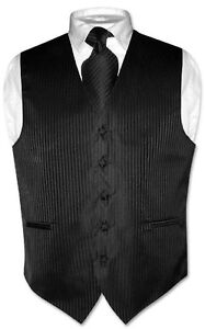 Mens-Dress-Vest-NeckTie-Black-Vertical-Stripes-Design-Set-for-Suit-or-Tuxedo